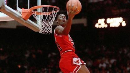 Michael Jordan jugando para los Bulls de Chicago.
