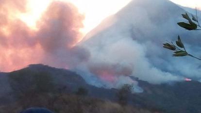 Este es el principal incendio que afecta el perijá desde hace cinco días según bomberos de La Guajira.