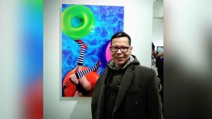 Foto en vida del escritor, pintor y artista visual guajiro Carlos Vanegas Cotes.