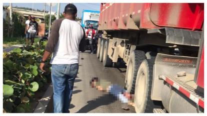 Joven muere arrollado por una tractomula en la vía Juan Mina