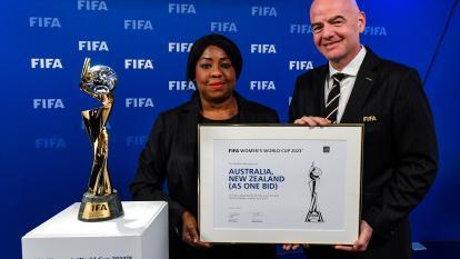 Gianni Infantino tras la elección de Australia y Nueva Zelanda como sede conjunta del Mundial Femenino 2023.