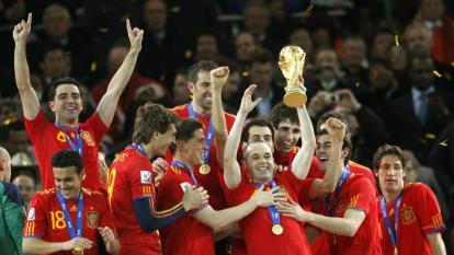 Jugadores de la selección de España celebrando el título del Mundial de Sudáfrica 2010.