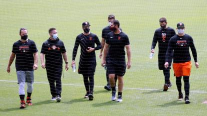 Los jugadores de los Gigantes de San Francisco durante un entrenamiento.