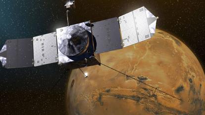 Simulación de la sonda 'Hope' en la órbita de Marte.