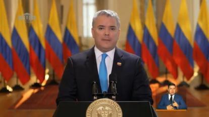 El presidente Iván Duque durante su discurso en la instalación del Congreso.