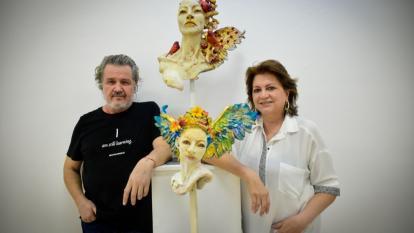 Los artistas Joaquín Botero y Carla Celia.