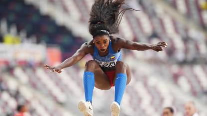 Caterine Ibargüen terminó tercera en salto de longitud