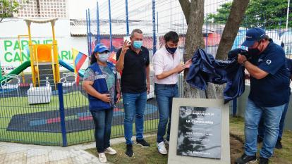 El alcalde de Barranquilla durante la entrega del parque La Candelaria, en el suroccidente de la ciudad.