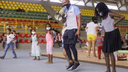 La Alcaldía de Cartagena lleva actividades lúdicas a niños y niñas que se encuentran en albergues temporales.