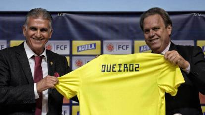 Carlos Queiroz y Ramón Jesurun en la presentación del europeo como DT de Colombia.