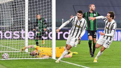 Álvaro Morata celebrando su gol tras un pase de Juan Guillermo Cuadrado.