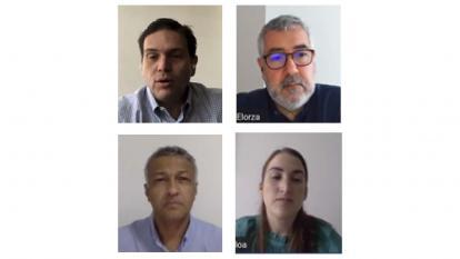 Alberto Martínez, moderador; Juan Carlos Pinzón, presidente de Probogotá; María Isabel Ulloa, Presidente de Propacífico y Juan Carlos Elorza, director de análisis y evaluación técnica de la CAF.