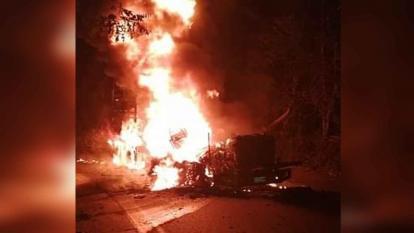 Reabierta vía de Medellín a la Costa tras quema de 4 camiones