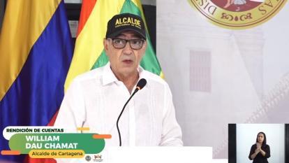 El alcalde de Cartagena, William Dau, en su rendición virtual de cuentas.