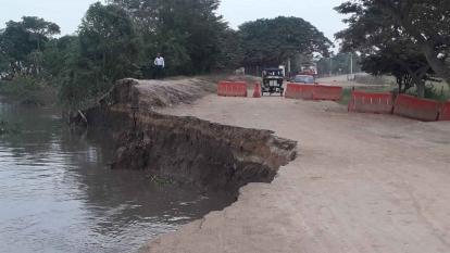 Cedió otro pedazo del talud en el Km 2.1 de la vía Salamina - El Piñón