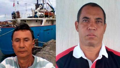 """El barranquillero Edgardo Londoño, maquinista de la embarcación, y el sanandresano Andrés Vargas, viajan a bordo de """"Carmen 1""""."""