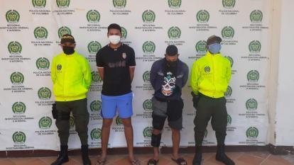 Mario Enrique Llerena Olivero y Jesús Leonardo Domínguez Castro fueron mostrados por la Policía de Cartagena.