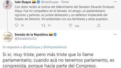 Cuenta del Senado corrige en Twitter al presidente Duque
