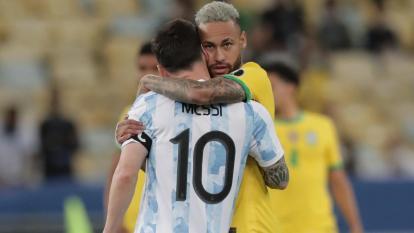 Neymar y Lionel Messi en la final de la Copa América.