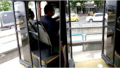Reportan daño en puerta de bus articulado de Transmetro