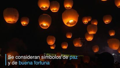 Así son elevadas cientos de lámparas en festival de Taiwán