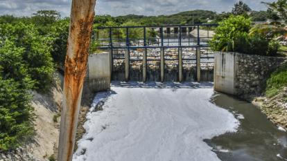 En video | Basuras y desechos sólidos flotan en el arroyo León