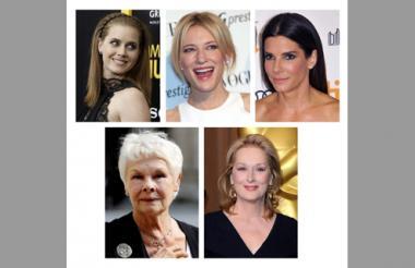Amy  Adams, Cate Blanchett, Sandra Bullock, Judi  Dench, y Meryl  Streep, nominadas a mejor actriz.
