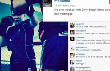 """La foto llevaba la leyenda: """"Nadie se mete con Dirty Soap! Mama dijo knock out! #disni—a""""."""