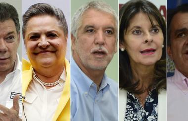 Juan Manuel Santos, Clara López Obregón, Enrique Peñalosa, Marta Lucía Ramírez y Óscar Iván Zuluaga.