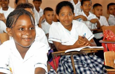 Estudiantes de primaria de una institución educativa de la Costa Caribe.
