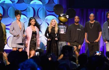 Usher, Rihanna, Nicki Minaj, Madonna, Deadmau5, KanYe West, JAY Z, y J. Cole en el lanzamiento de la plataforma Tidal.