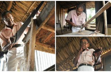 Madera, serrucho, taladro, machete y laca transparente han acompañado a Julio César Hernández durante los 50 años que lleva dedicado a su oficio.