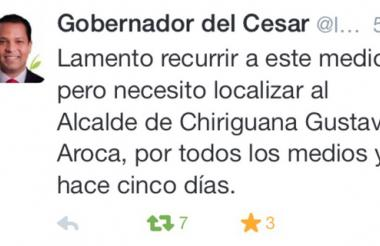 Este fue el mensaje enviado por el gobernador Luis Alberto Monsalvo en su cuenta de Twitter.