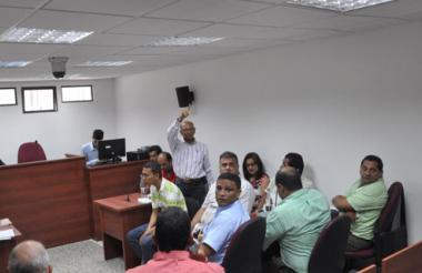 Aspecto de la audiencia a los detenidos, que se realizaba ayer en Valledupar.