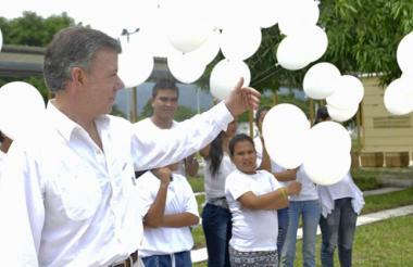 El presidente Juan Manuel Santos durante los homenajes a las víctimas de Armero.