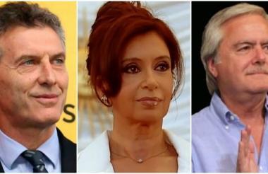 Macri, presidente electo, Fernández, presidente saliente y Pinedo, presidente provisional del senado.