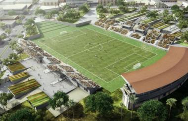 'Render' de lo que será el nuevo estadio Romelio Martínez, de Barranquilla.
