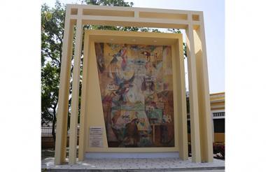 Así luce el fresco 'Simbología de Barranquilla', de Alejandro Obregón, ubicado en la antigua Aduana, contiguo a la Biblioteca Piloto del Caribe.