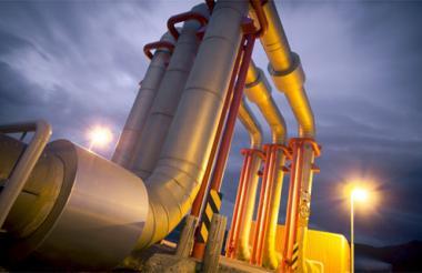 Aspecto de un gasoducto utilizado para el transporte de gas.