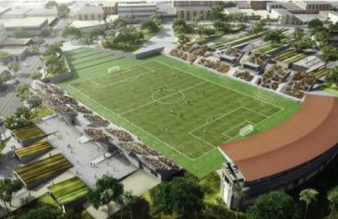 El diseño presentado no cuenta con un espacio para pista de atletismo. Se suprime.