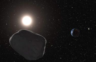Imagen de un asteroide acercándose a la Tierra, fue creada digitalmente.