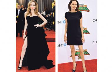 La actriz durante los Óscar 2014 (iqz). Jolie, en el estreno de 'Kung Fu Panda 3' (der).