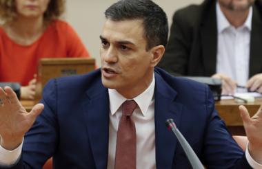 Líder del partido socialista, el secretario general del PSOE, Pedro Sánchez, durante su intervención.
