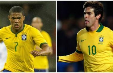 Douglas Costa y Kaká.