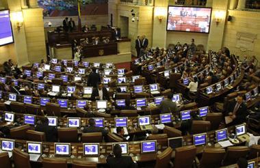 Plenaria de la Cámara, durante la aprobación del Acto Legislativo para la Paz.