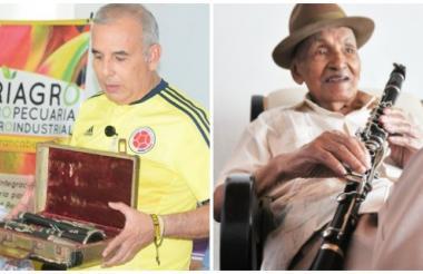 El alcalde de Barrancabermeja, Darío Echevery, con el clarinete del maestro Juan Madera que entregará la primera semana de julio. En la siguiente imagen, el célebre coautor de La pollera colorá.