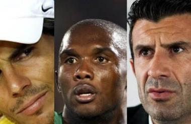 Rafael Nadal, Samuel Eto'o y Luis Figo.