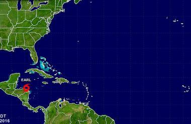 Ubicación de la tormenta tropical 'Earl'.