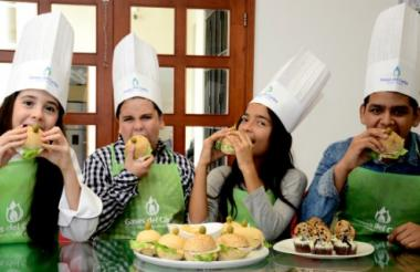 Anna Cristina Tirado, José Daniel Acevedo, Yulitza Sarmiento y Jose Daniel Hernández  mostrarán sus talentos culinarios en el stand especial para niños, disponible en Sabor Barranquilla.