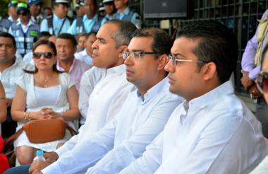 El nuevo secretario de Tránsito de Valledupar, Víctor Arismendi, junto al alcalde Augusto Ramírez.